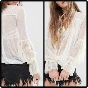 NWOT Free People Lace Far Away Lace Gypsy Top Lrg